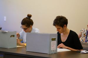 Students studying from special collections