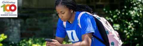 Duke Student Using Her Phone