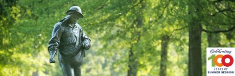 Sower statue on Duke East Campus
