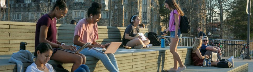 Students studying on Penn Pavillion Deck