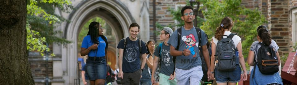 Students walking through West Campus quad